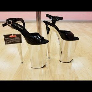 "New Pleaser Black & Silver Chrome 10"" Heels Size 8"